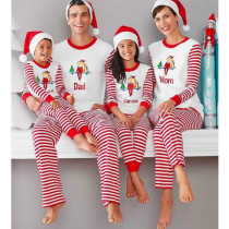 Christmas Family Matching Sleepwear Pajamas Sets White Slogan Top and Red Stripes Pants