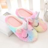 Adult Cozy Flannel Rainbow Unicorn Animal House Winter Warm Soft Sole Footwear