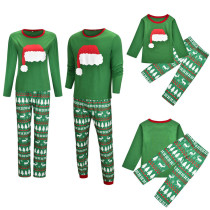 Christmas Family Matching Sleepwear Pajamas Sets Green Christmas Hat Top and Deers Trees Pants