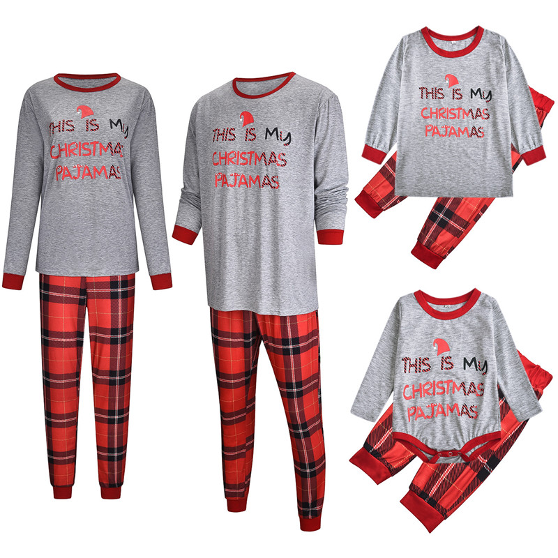 Christmas Family Matching Sleepwear Pajamas Sets Grey Merry Christmas Slogan Top and Red Plaid Pants