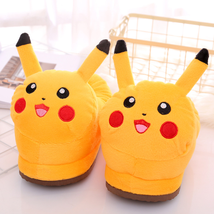 Cozy Flannel Yellow Pokemon Pikachu Animal House Family Winter Warm Footwear