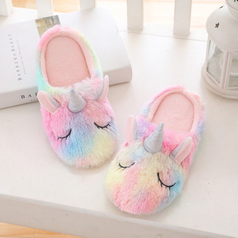 Adult Cozy Flannel Rainbow Unicorn Animal House Winter Warm Soft Sole Footwear
