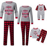 Christmas Family Matching Sleepwear Pajamas Sets Grey Slogan Top and Red Plaid Pants