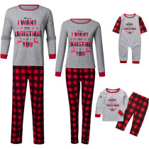 Christmas Family Matching Sleepwear Pajamas Sets Grey Slogan Top and Red Plaid Pants