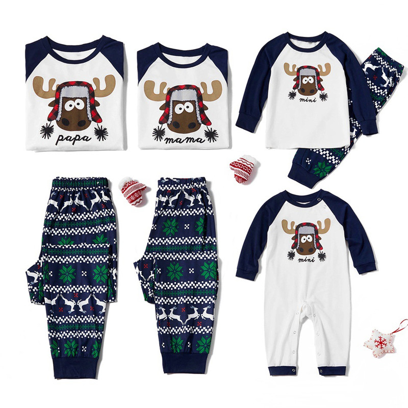 Christmas Family Matching Sleepwear Pajamas Sets Papa Mama Deer Top and Navy Prints Pants