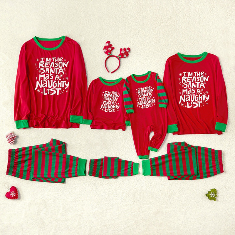 Christmas Family Matching Sleepwear Pajamas Sets Red Slogan Top and Green Stripes Pants