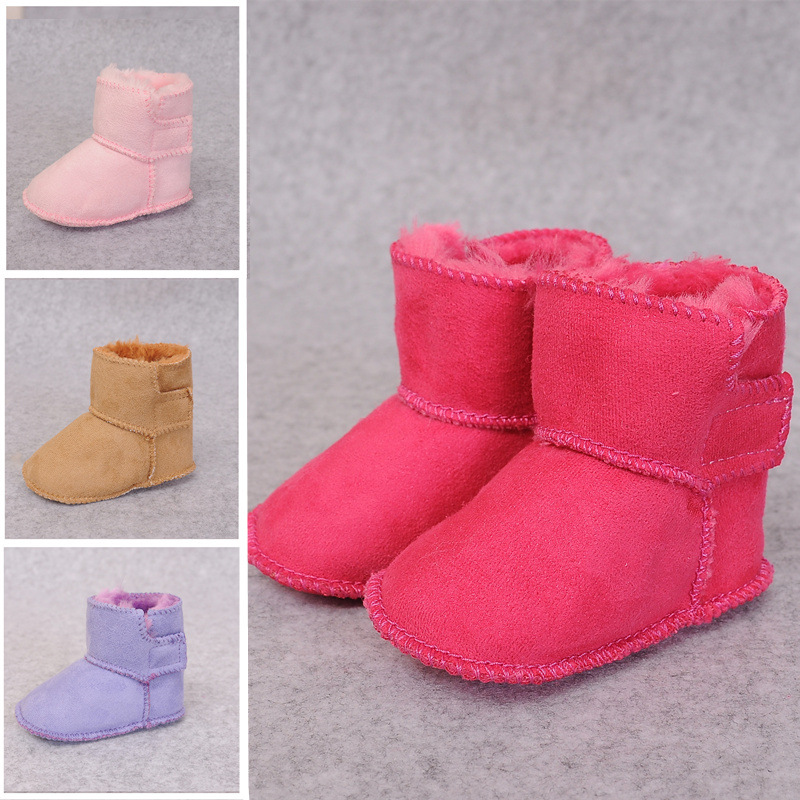 Baby Toddlers Girls Boy Suede Add Wool Winter Warm Shoes Snow Boot