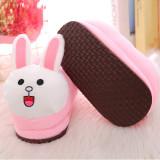 Cozy Flannel Cute Pink Long Ears Rabbit Animal House Family Winter Warm Footwear
