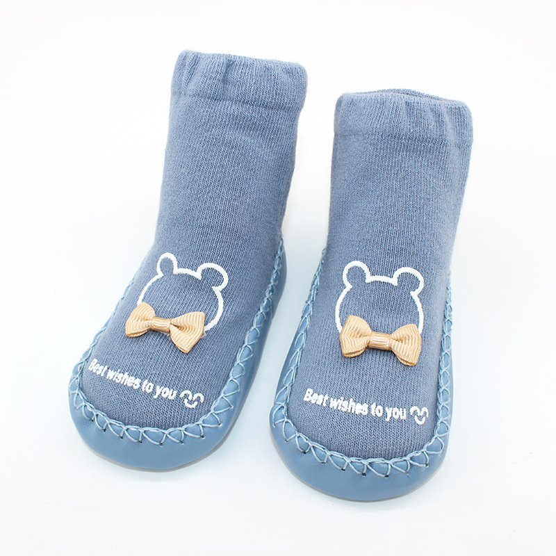 Baby Toddlers Girls Boy Cute Bear Bowtie Non-Skid Indoor Winter Warm Shoes Socks