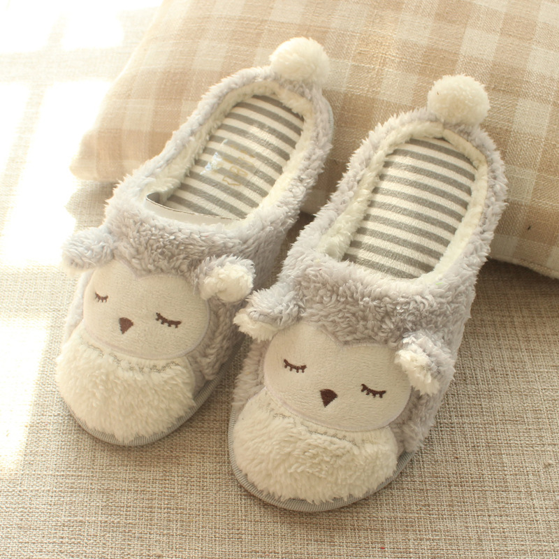Adult Cozy Plush Cute Owl Animal House Winter Warm Soft Sole Slippers