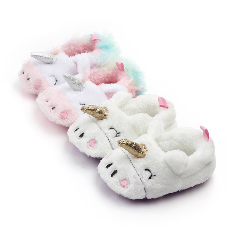 Baby Toddlers Girls Boy Flannel Plush Unicorn Non-Skid Indoor Add Wool Winter Warm Shoes Socks