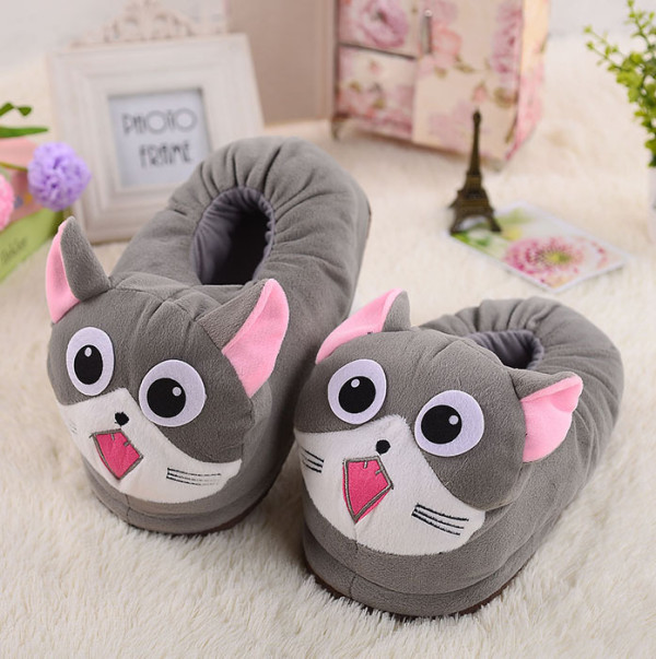 Cozy Flannel Grey Chis Sweet Cat Animal House Family Winter Warm Footwear