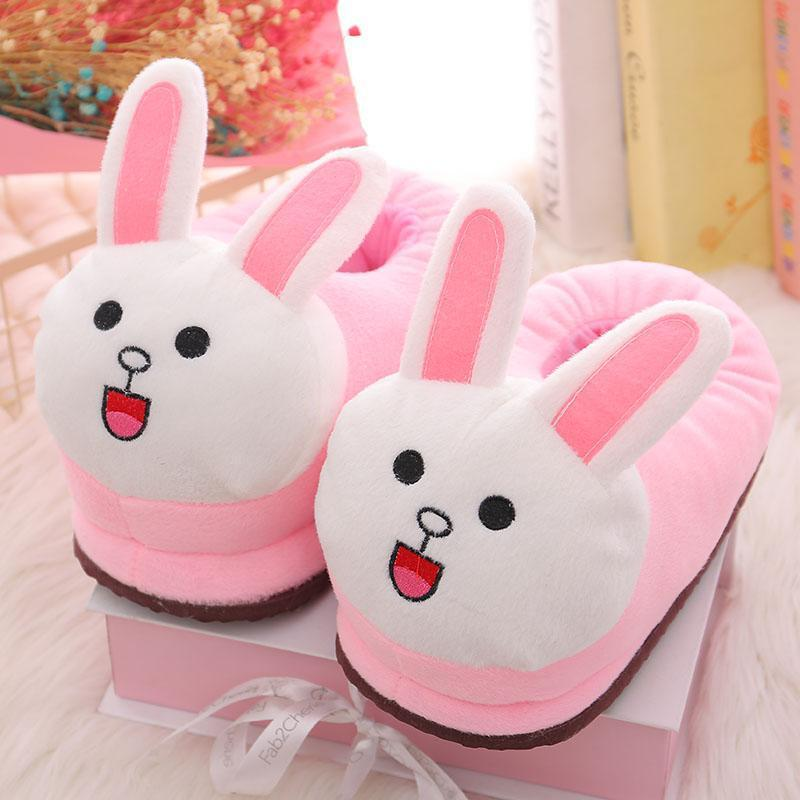 Cozy Flannel Cute Pink Long Ears Rabbit Animal House Family Winter Warm Footwear