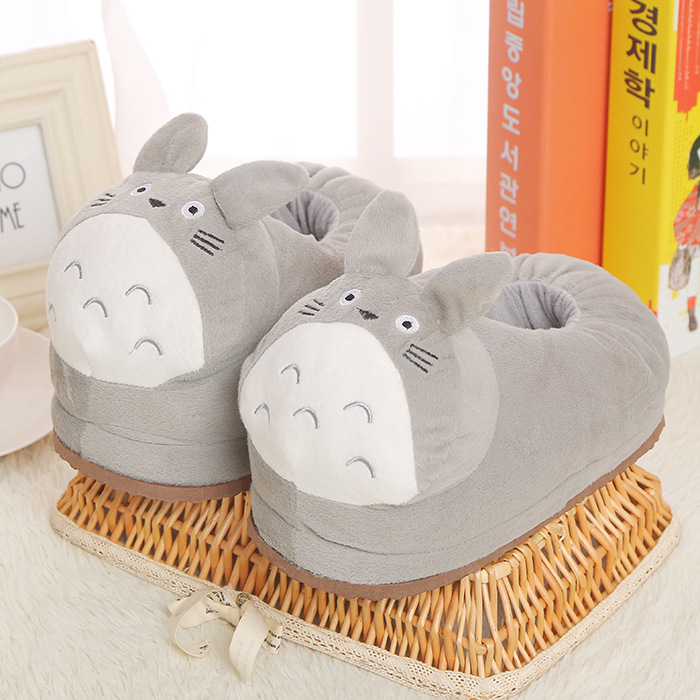 Cozy Flannel Grey Totoro Cat Animal House Family Winter Warm Footwear