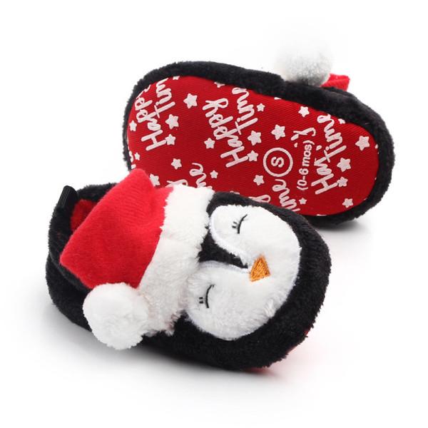 Baby Toddlers Boy Girls Flannel Christmas Penguin Animal Non-Skid Indoor Slipper Winter Warm Shoes Socks