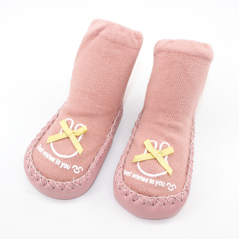Baby Toddlers Girls Boy Cute Rabbit Bowknot Non-Skid Indoor Winter Warm Shoes Socks