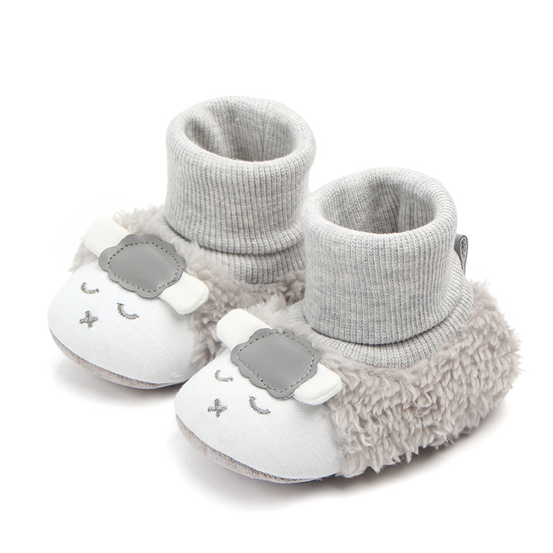 Baby Toddlers Girls Boy Plush Sheep Non-Skid Indoor Add Wool Winter Warm Shoes Socks
