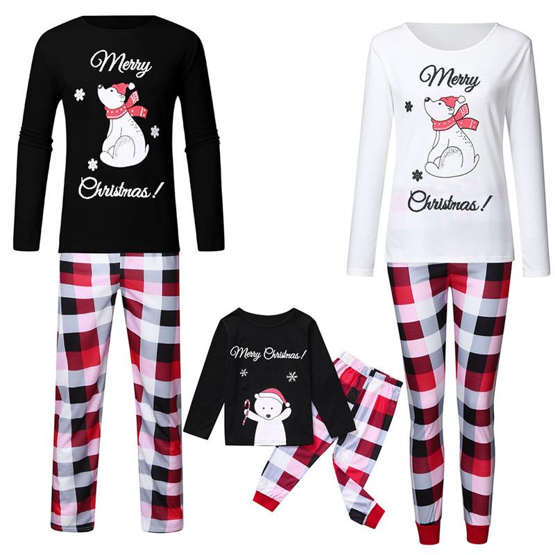 Christmas Family Matching Sleepwear Pajamas Sets Merry Christmas Bear Top and Plaid Pants