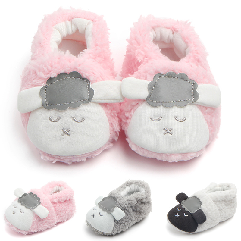 Baby Toddlers Boy Girls Plush Sheep Non-Skid Indoor Slipper Winter Warm Shoes Socks