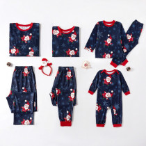 Christmas Family Matching Sleepwear Pajamas Sets Navy Prints Santa Claus Snow Top and  Pants