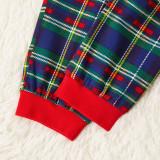 Christmas Family Matching Sleepwear Pajamas Sets Green Slogan Top and Navy Plaids Pants