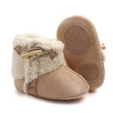 Baby Toddlers Boy Girls Flannel Wool Non-Skid Indoor Slipper Winter Warm Shoes Socks
