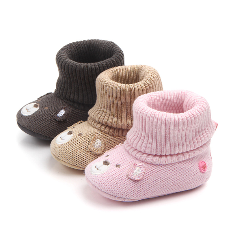 Baby Toddlers Boy Girls Knit Wool Bear Animal Non-Skid Indoor Slipper Winter Warm Shoes Socks