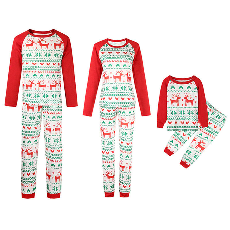 Christmas Family Matching Sleepwear Pajamas Sets White Prints Deers Hearts Top and Pants