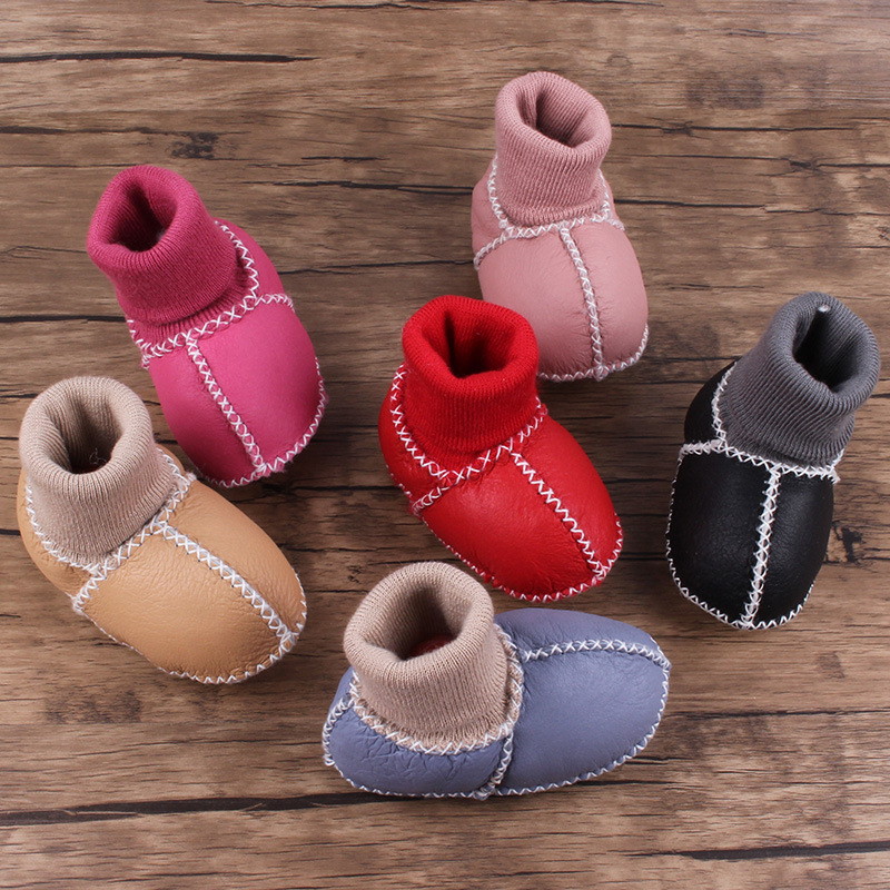 Baby Toddlers Girls Boy PU Add Wool Winter Warm Shoes Snow Boot