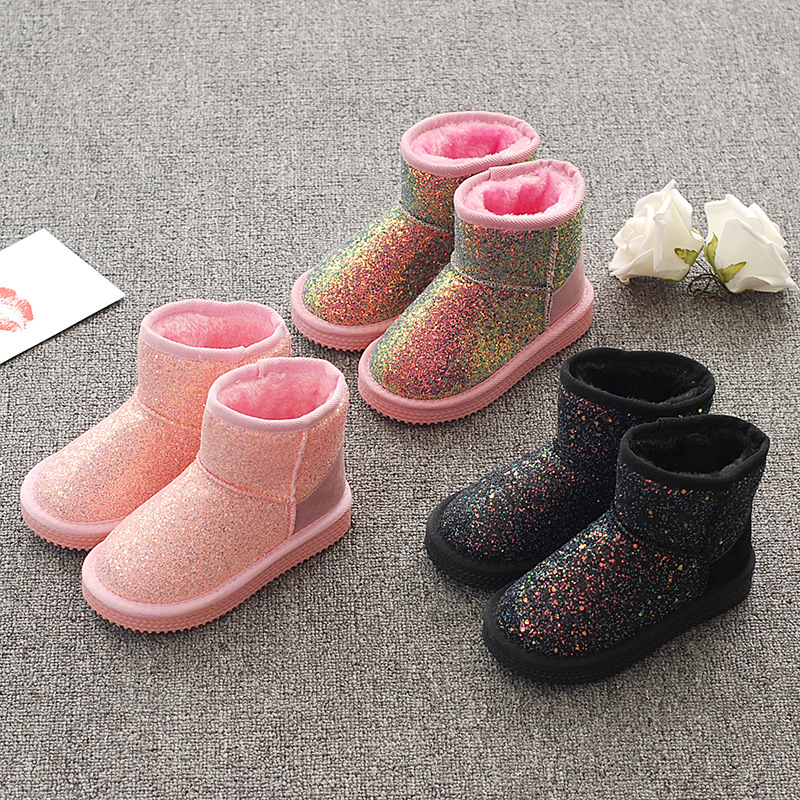 Kid Toddler Girls Glitters Sequins Winter Warm Snow Short Boots