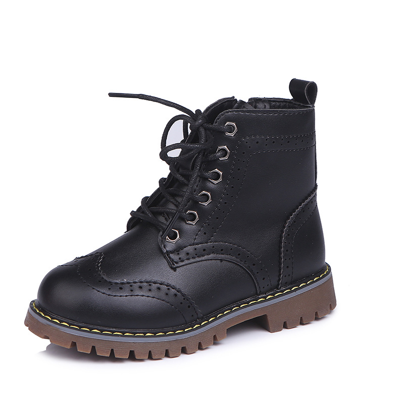 Kid Girl Embossed PU leather Martin Lace Up Short Boots