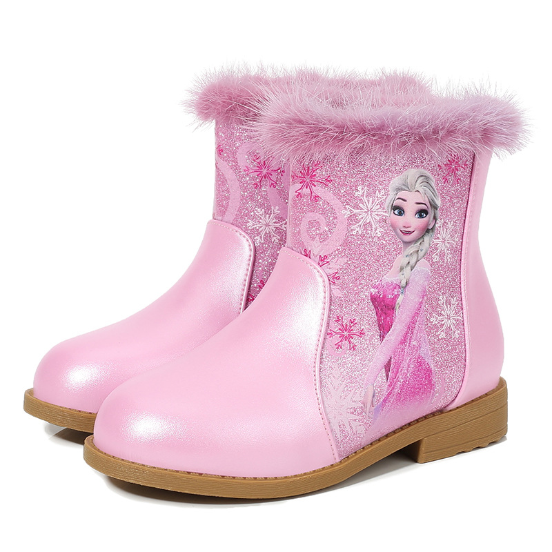 Kid Girl Sequins Frozen Princess Add Wool PU Leather Short Boots
