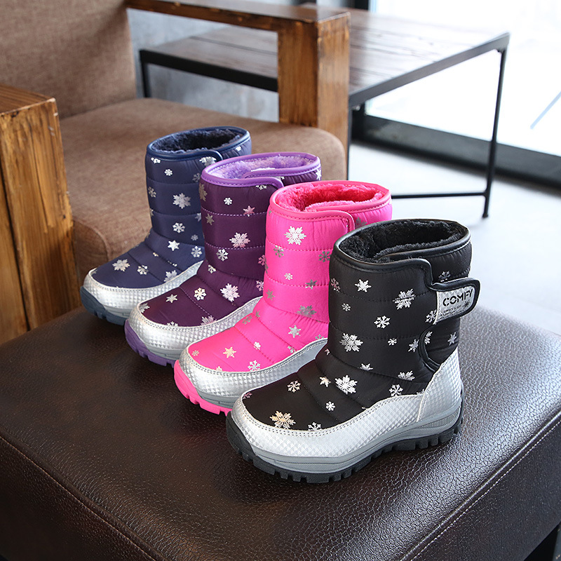 Kid Toddler Boy Girl Print Snowflake Add Wool Waterproof Snow Boots