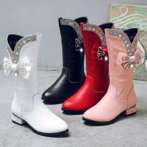 Kid Girl Diamonds Bowknot Leather Add Wool Tall Pump Boots