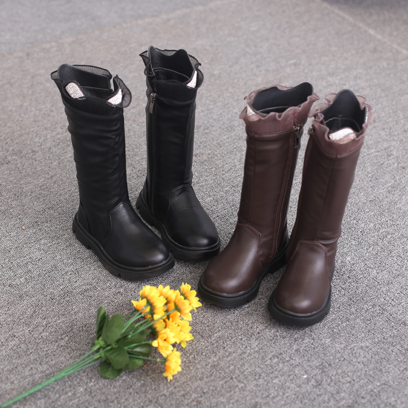 Kid Girl Lace Diamonds Add Wool PU Leather Over The Kneel Boots