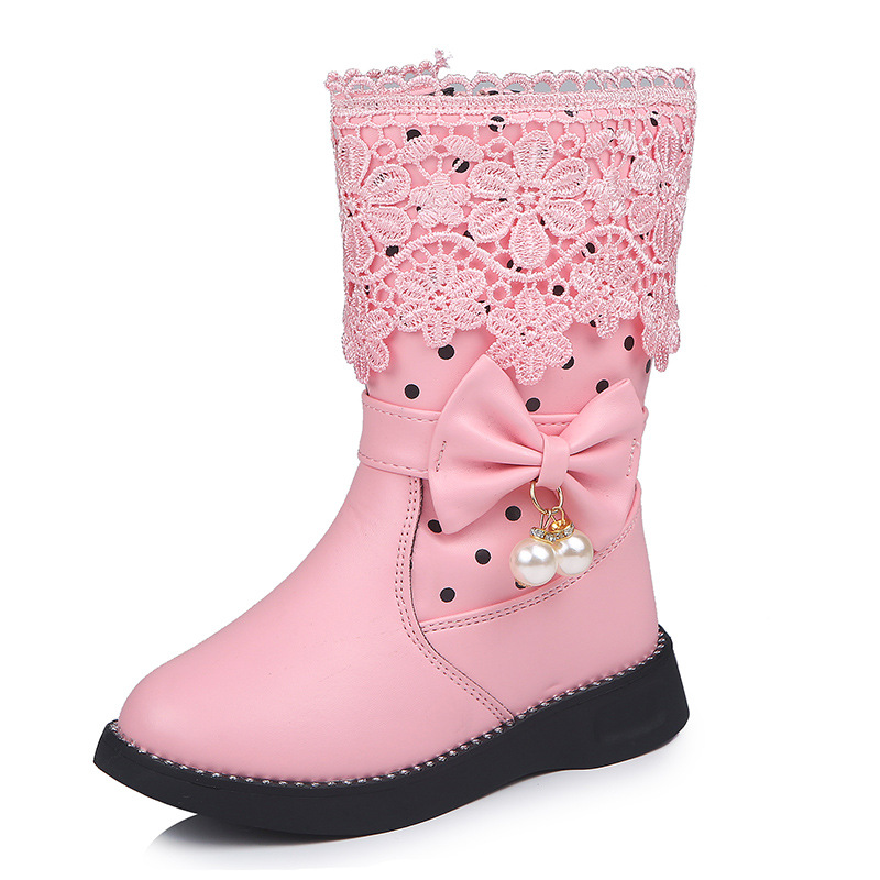 Kid Girl PU Leather Add Wool Winter WarmTall Boots With Lace Flowers Bowknet