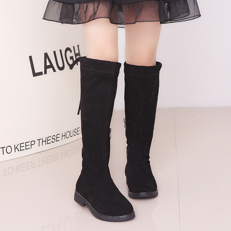 Kid Girl Pure Color Suede Over the Knee Boots