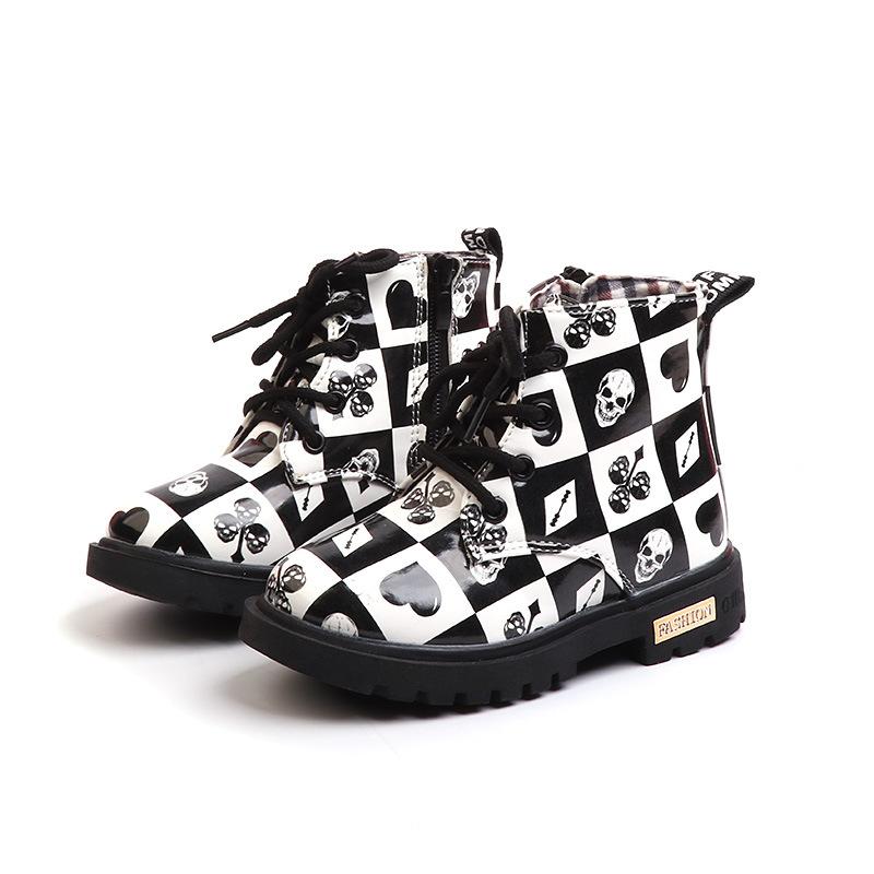 Kid Girl PU British Oxford Martin Ankle Boots Prints Poker Pattern