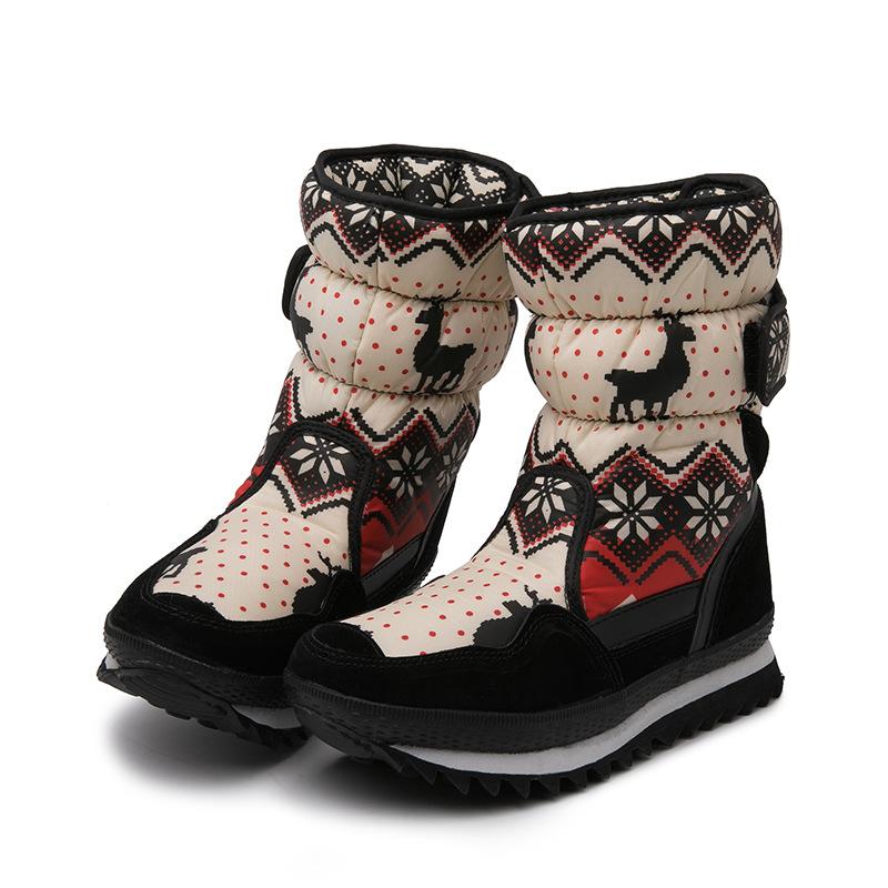 Kid Toddler Boy Girl Prints Snowflake Dots Deer Thicken Fluff Waterproof Winter Snow Boots