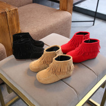 Kids Toddler Girl Suede Pure Color Tassel Martin Ankle Boots With Side Zipper