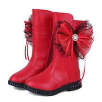 Kid Girl 3D Lace Dots Bowknet Add Wool PU Leather Tall Boots