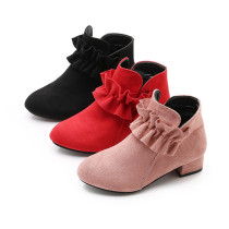 Kids Toddler Girls Suede Ruffles Ankle Low Heeled Pumps Boots