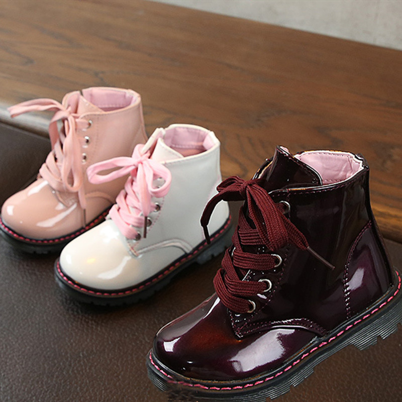 Kid Girl PU Pure Color Oxford Martin Ankle Boots