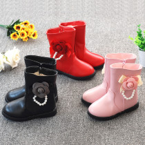 Kid Girl 3D Flower Pearl Add Wool PU Leather Tall Boots