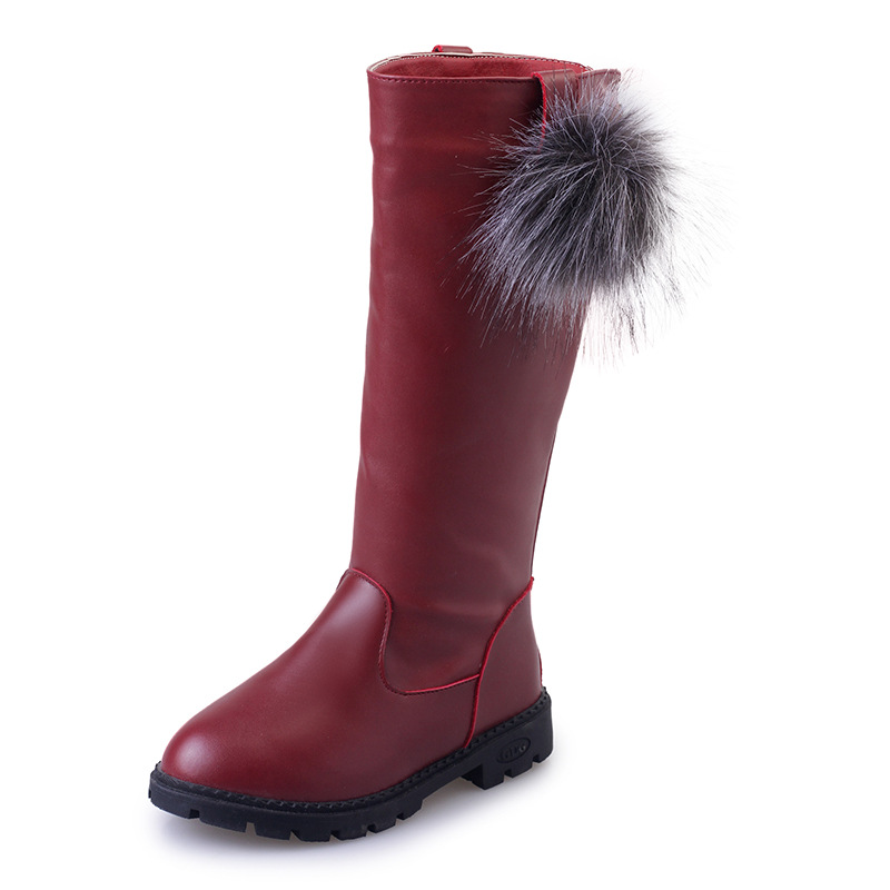 Kid Girl Pompom PU Leather Add Wool Winter WarmTall Boots