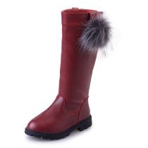 Kid Girl Pompom PU Leather Add Wool Winter WarmTall Boots