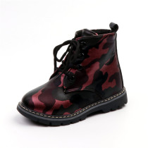 Kid Girl Camouflage PU Leather Martin Ankle Boots With Side Zipper