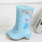 Kid Girl Sequins Frozen Princess Lace UP Add Wool PU Leather Tall Hight Heeled Pump Boots
