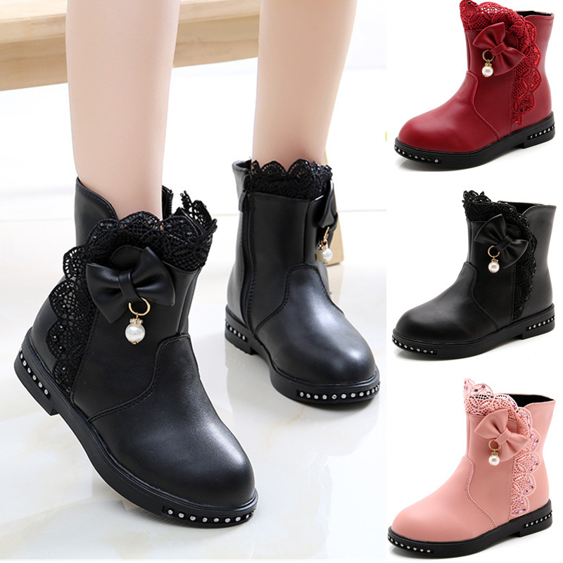Kid Girl Lace Bowknet Add Wool PU Leather Short Boots
