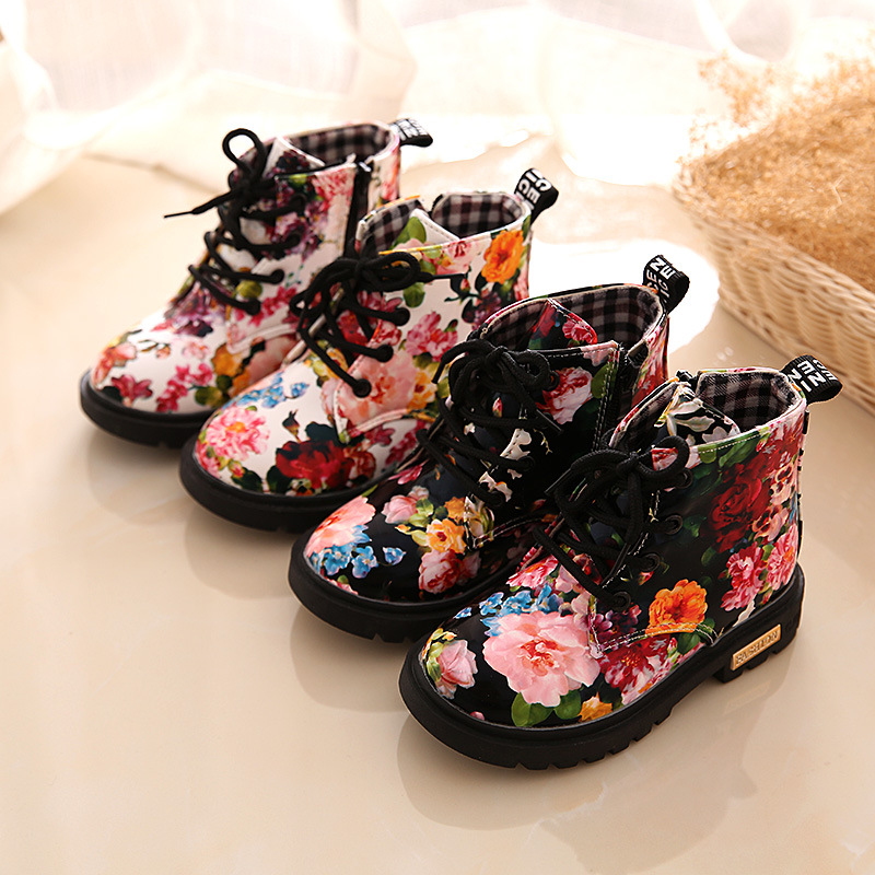 Kid Girl Flowers British Oxford Martin Ankle Boots